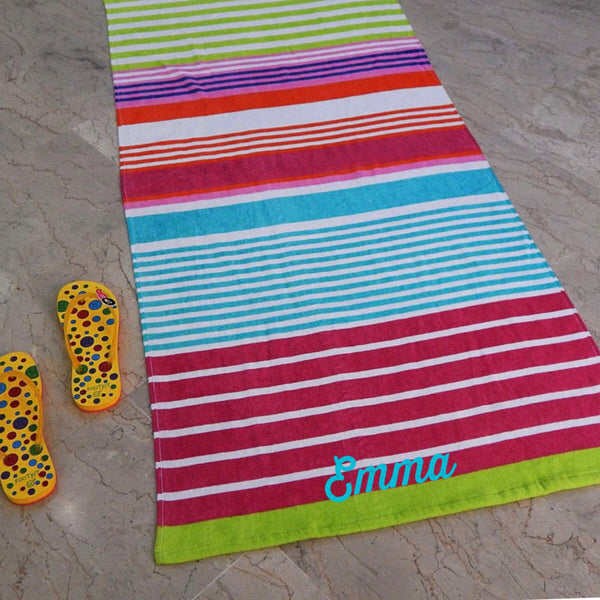 Striped Beach Towel Personalized