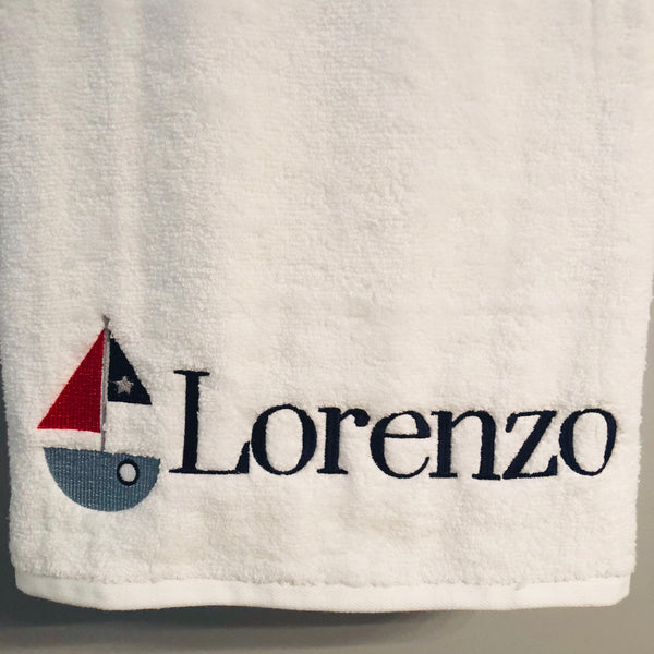 Sailboat Nautical Personalized Beach Towel Bath Towel