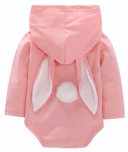 Bunny Rabbit Bodysuit with Hooded Ears and Tail