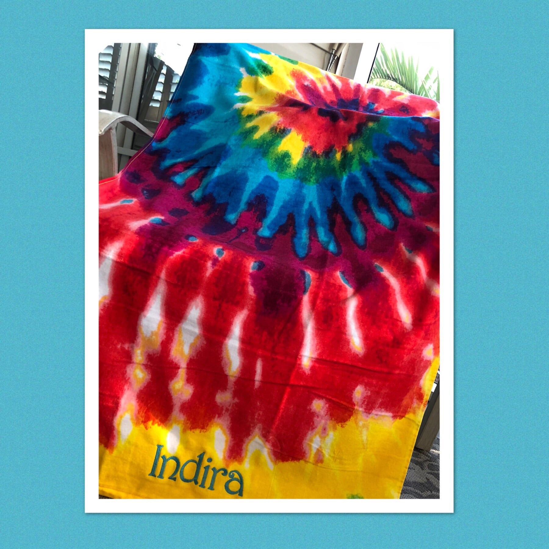 Tie Dye Beach Towel Personalized