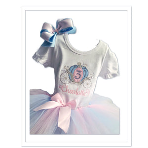 Personalized Embroidered Princess Carriage Birthday Shirt and Tutu Pink, Blue and Silver