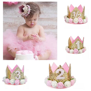 Birthday Crown Tiara Headband Gold Pink and White Rose Flowers