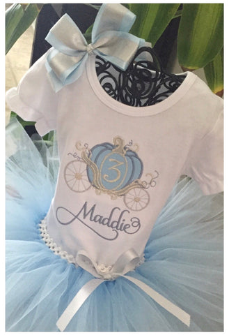 Personalized Princess Carriage Birthday Shirt and Tutu Blue and Silver