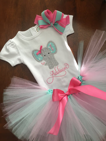 Personalized Elephant Girl Birthday Shirt and Tutu