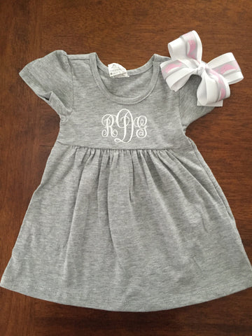 Monogrammed Personalized Baby and Toddler Capped Sleeve Dress
