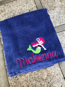 Mermaid Personalized Beach Towel Bath Towel