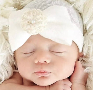 White Infant Cap with Bow