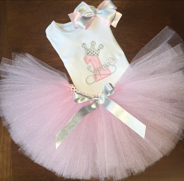 Personalized Princess Number with Crown Birthday Shirt and Tutu