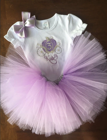 Personalized Princess Carriage Birthday Shirt and Tutu Lavender and Silver