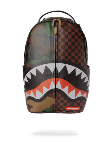SPRAYGROUND- CHECKS & CAMO SPLIT BACKPACK BACKPACK