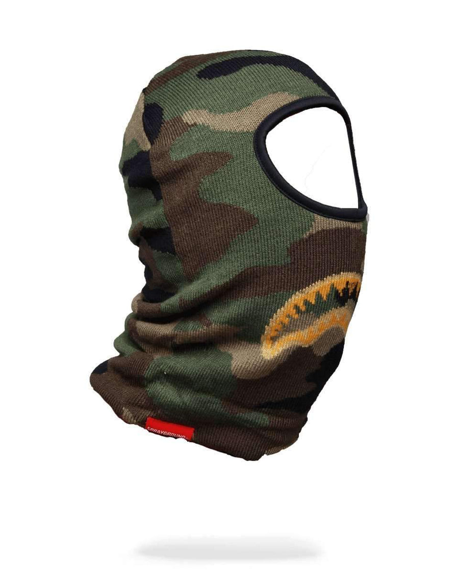 GOLD KNIT SHARK MOUTH SKI MASK