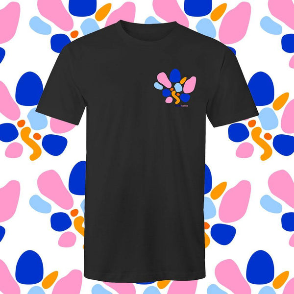 Black Cotton Tee Bamba Bamba Collective Print Heart Colourful