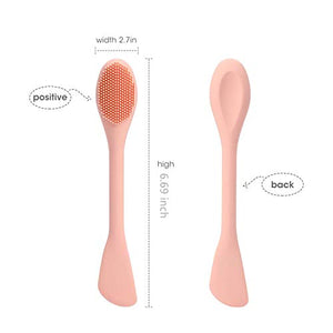 Oneleaf Silicone Face Mask Brush Double-head,2 PCS Premium Quality Soft Face Mask&Facial Cleansing Brush,Facials, Mud,Clay Mask,DIY,Modeling Mask,Body Lotion,and BB CC Cream,Pore Cleaner-PINK+RED