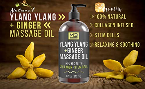 Ylang Ylang and Ginger Massage Oil Infused with Collagen and Stem Cell - Therapeutic Anti-Cellulite Body Lotion Cream - Essential Oils Deep Tissue Relaxation, Sore Muscle Relief 8 oz