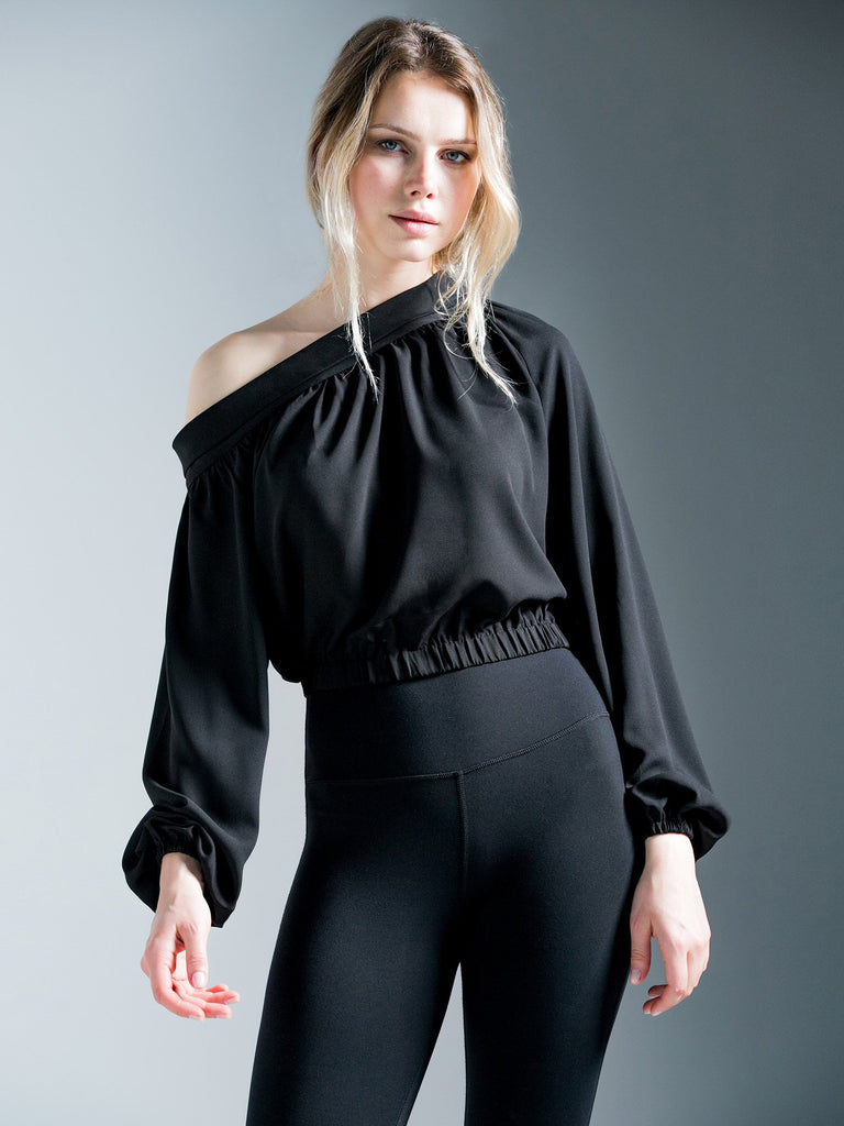OFF SHOULDER CHIFFON TOP, BLACK