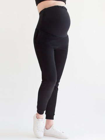 OVER-THE-BUMP MATERNITY SWEAT PANTS, BLACK