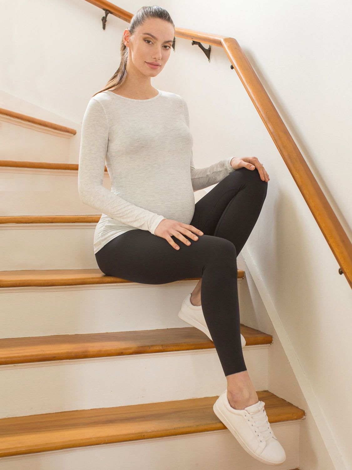 MATERNITY SOFT STRETCH LONG SLEEVE TEE, LIGHT HEATHER GREY