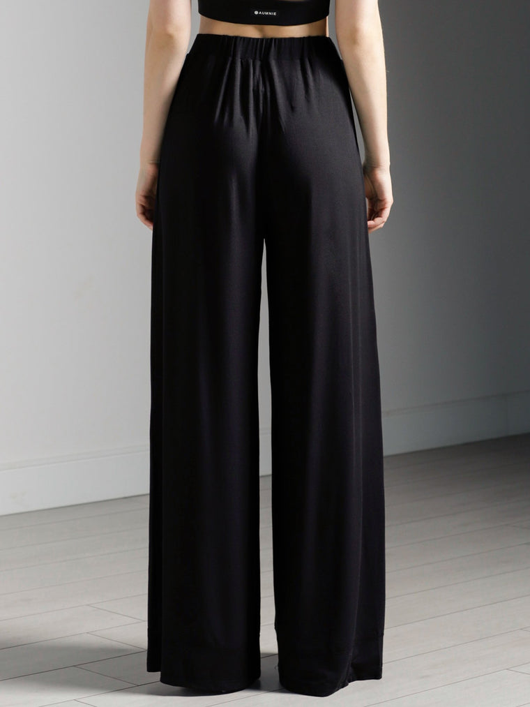 SOFT WIDE LEG PANTS, BLACK MODAL