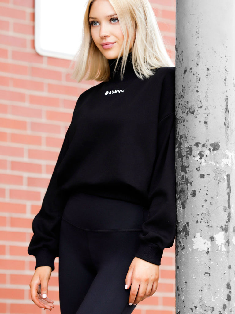 CT MOCK NECK SWEATSHIRT, BLACK