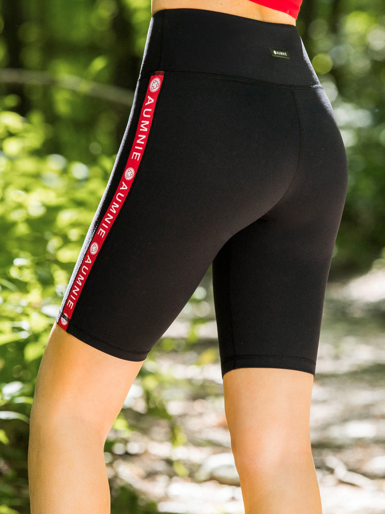 HIGH WAIST LOGO BIKER SHORTS, BLACK/RED
