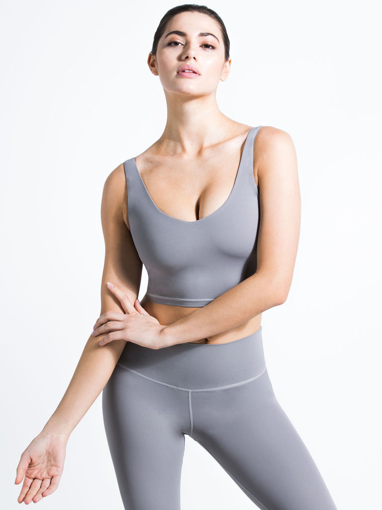 U NECK NUDE TANK, LUNAR GREY