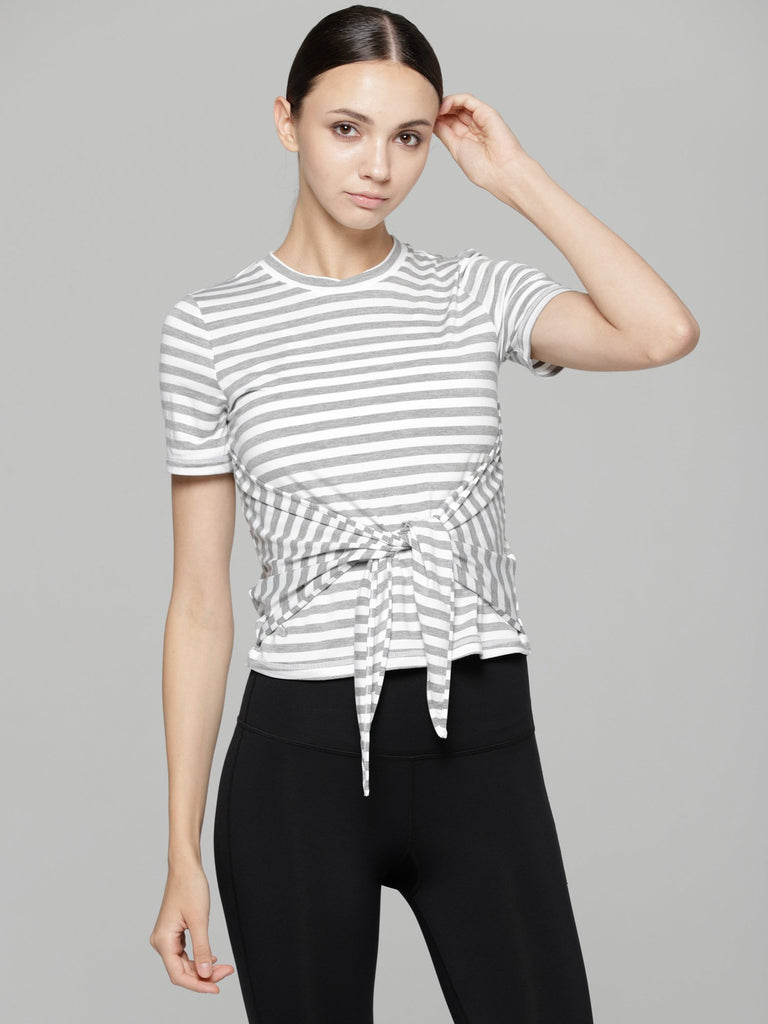 FITTED TEE WITH FRONT AND BACK TIE, GREY STRIPES
