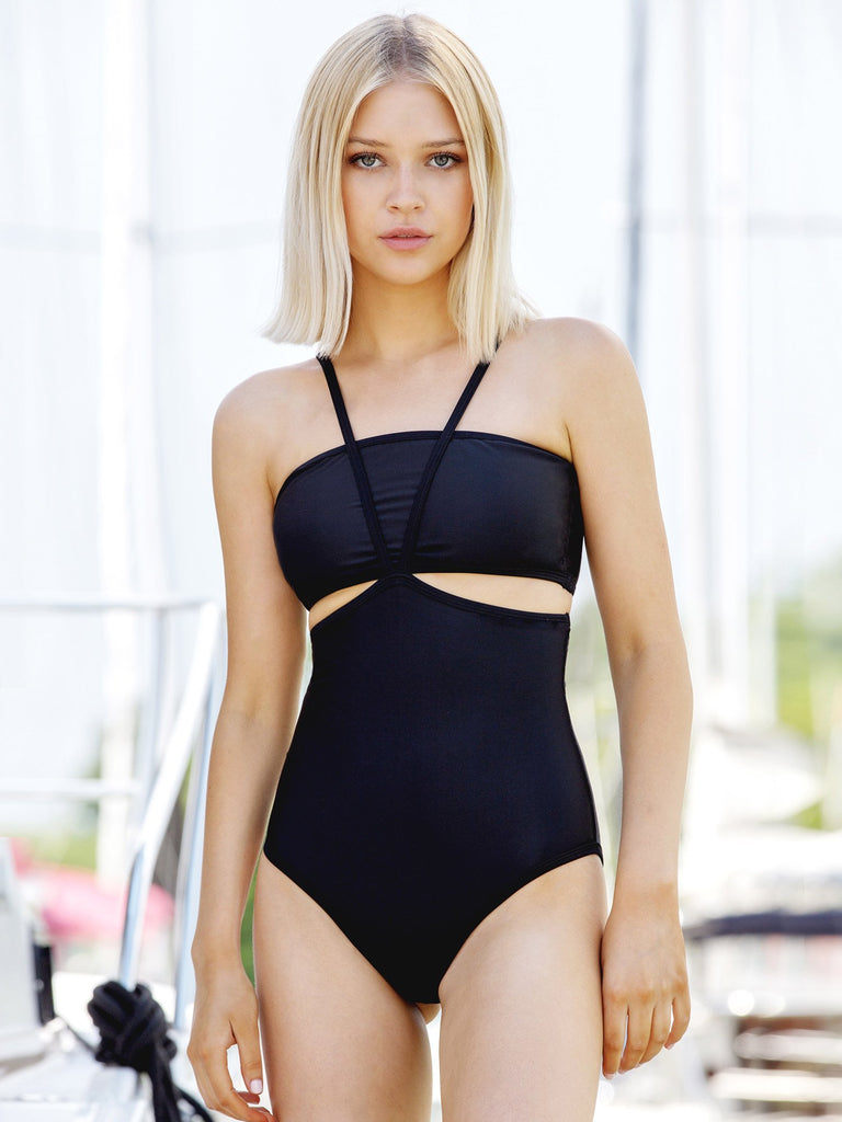 BANDEAU 2-PIECE SWIMSUIT, BLACK
