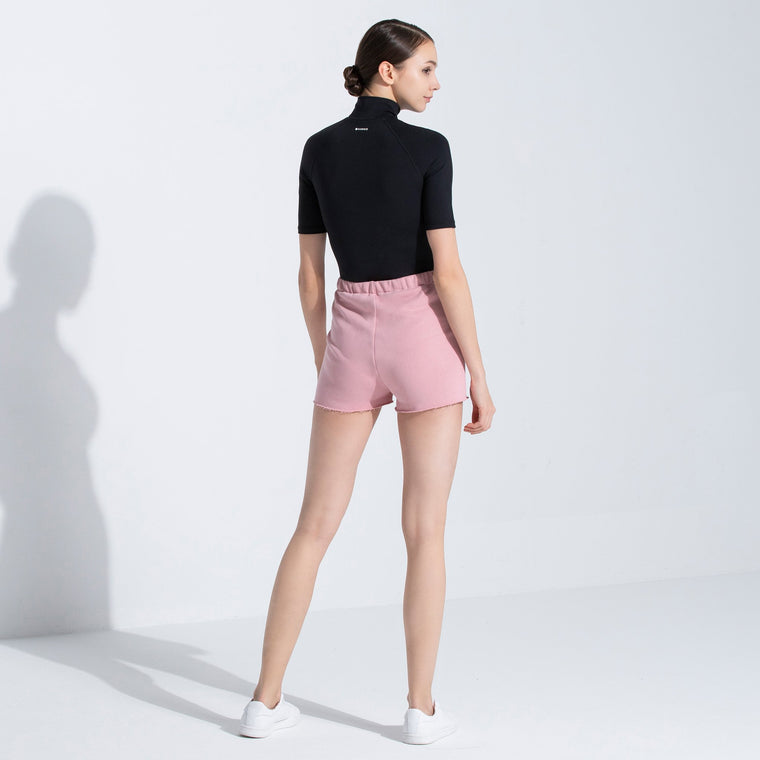 HIGH WAIST COTTON SHORTS, PINK