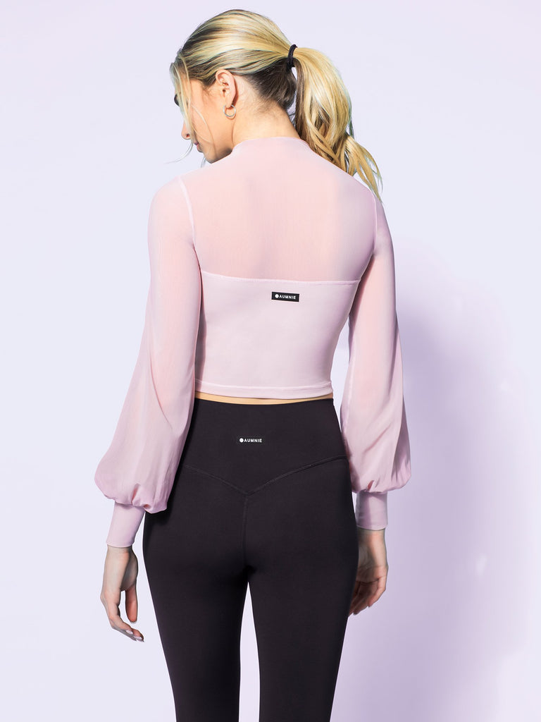 MESH ILLUSION PUFF SLEEVE CROP TOP, BLUSH/BLUSH MESH