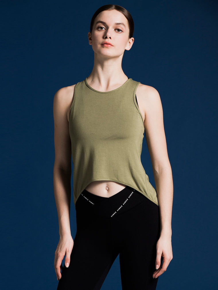 OPEN BACK CROP TOP, SAGE