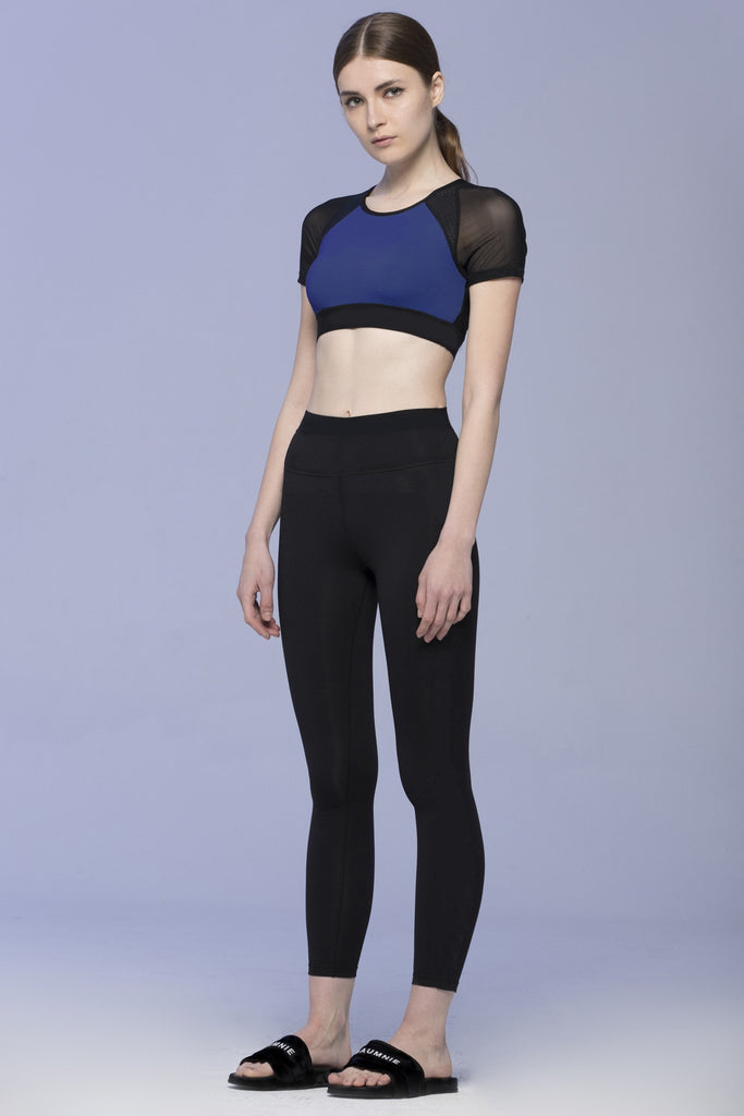 INTENSITY CROPPED TEE, ATLANTIC/BLACK MESH