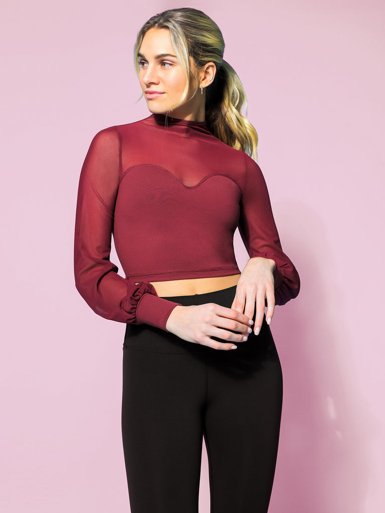 MESH ILLUSION PUFF SLEEVE CROP TOP, BORDEAUX/BORDEAUX MESH