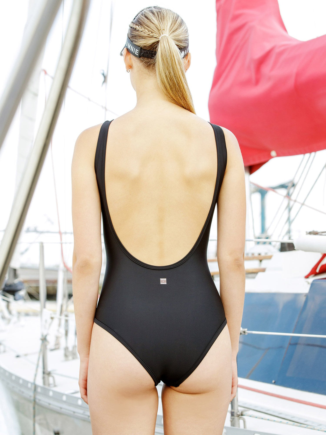 OPEN BACK SWIMSUIT, BLACK