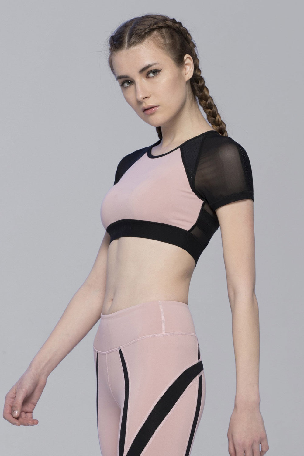INTENSITY CROPPED TEE , BLUSH/BLACK MESH