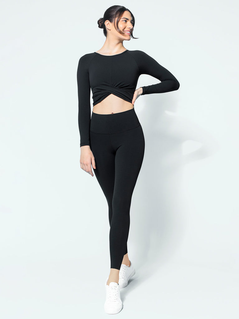 NUDE FRONT WRAP LONG SLEEVE TEE, BLACK