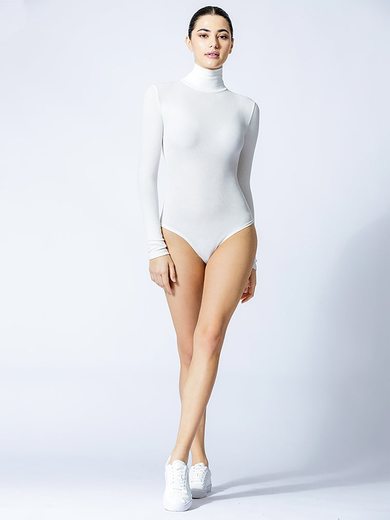 TURTLENECK BODYSUIT, WHITE