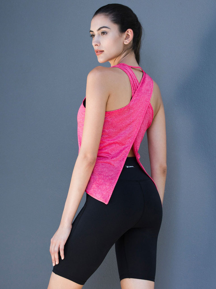 OPEN BACK CROP TOP, PINK WFX