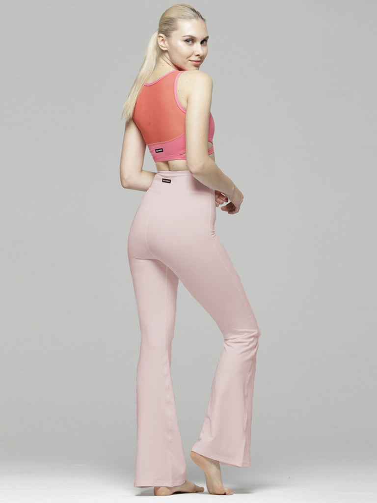 HIGH WAIST FLARE PANTS, BLUSH