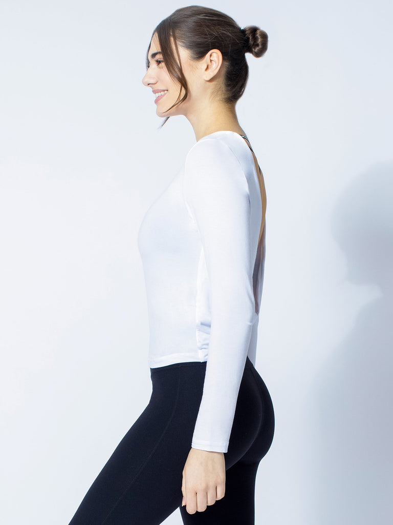 LONG SLEEVE TWIST TEE, WHITE