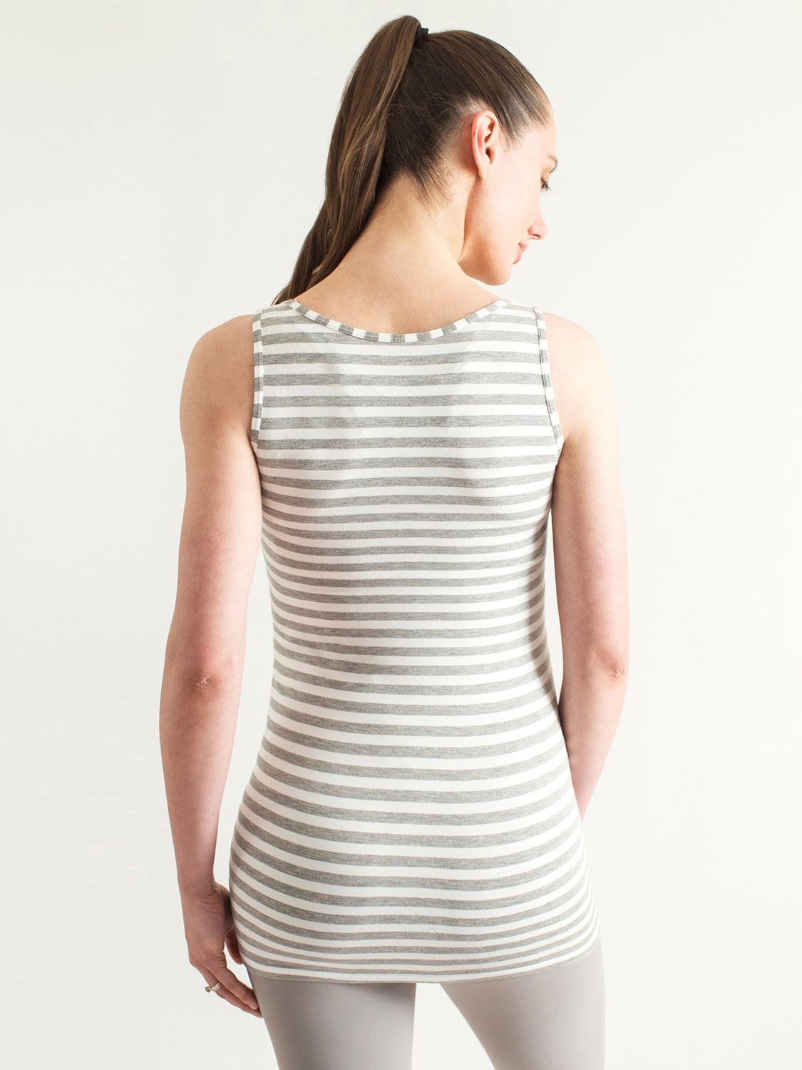 LONG SOFT STRETCH MATERNITY TANK, LIGHT HEATHER GREY STRIPE