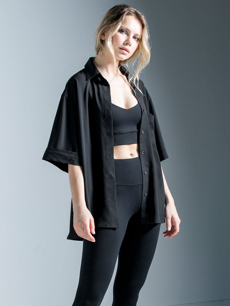 CHIFFON BOYFRIEND BLOUSE, BLACK