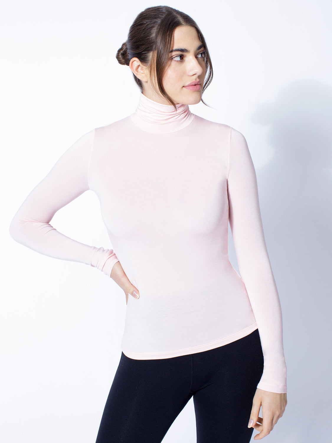 TURTLENECK TOP, BALLET PINK
