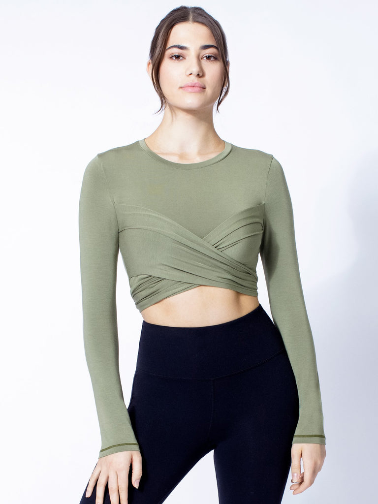LONG SLEEVE CT WRAP TEE, SAGE