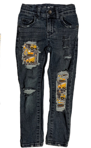 Dark Construction Messy Denim