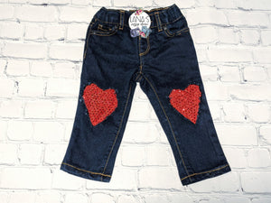 Red Sequin Hearts Messy Denim