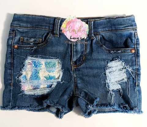 Colorful Pineapple Messy Denim