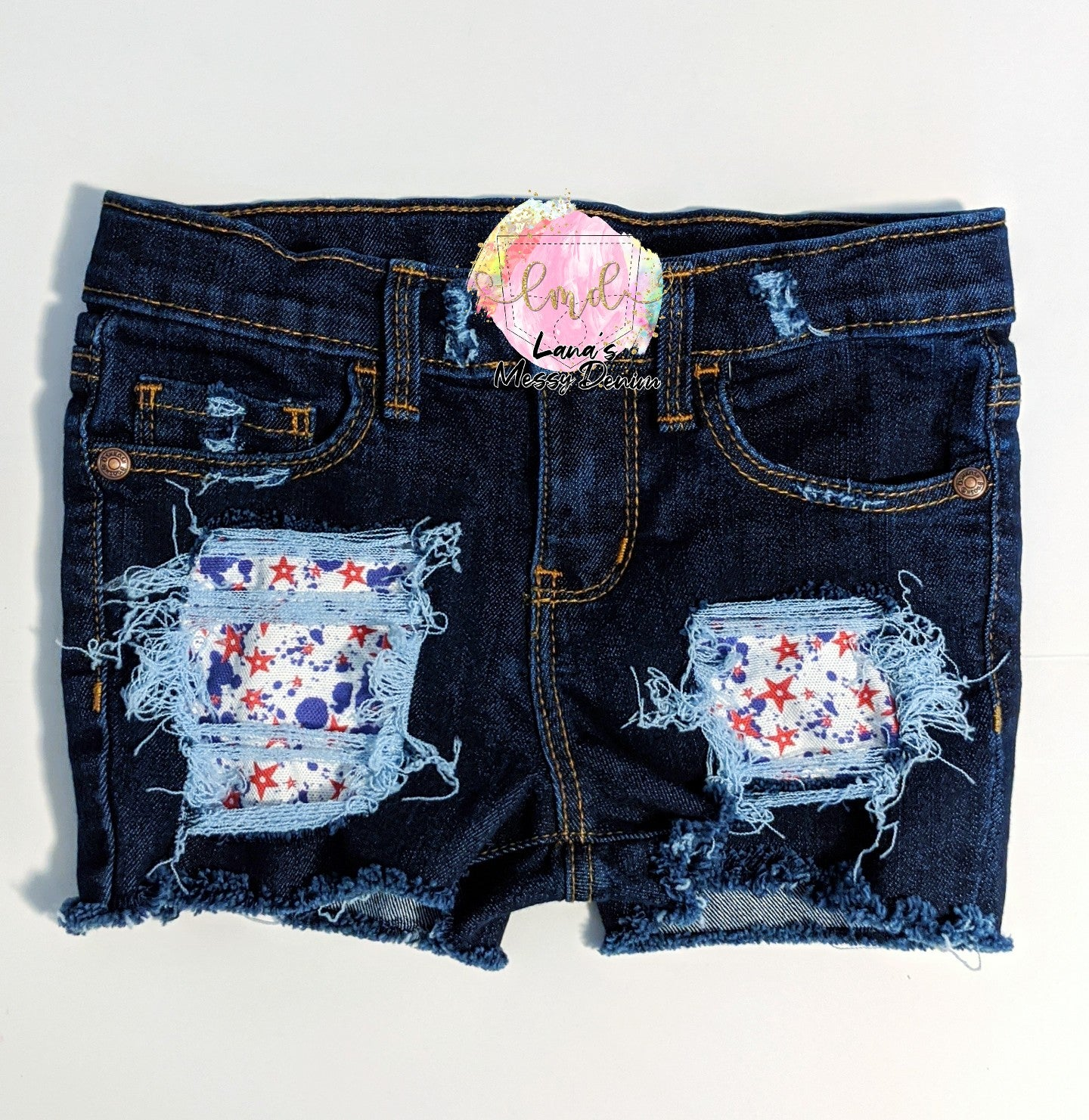 Patriotic Paint Splatter Messy Denim Shorts