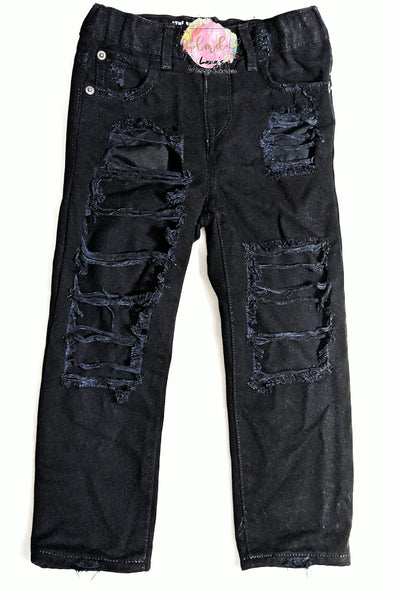 Black Messy Denim Jeans
