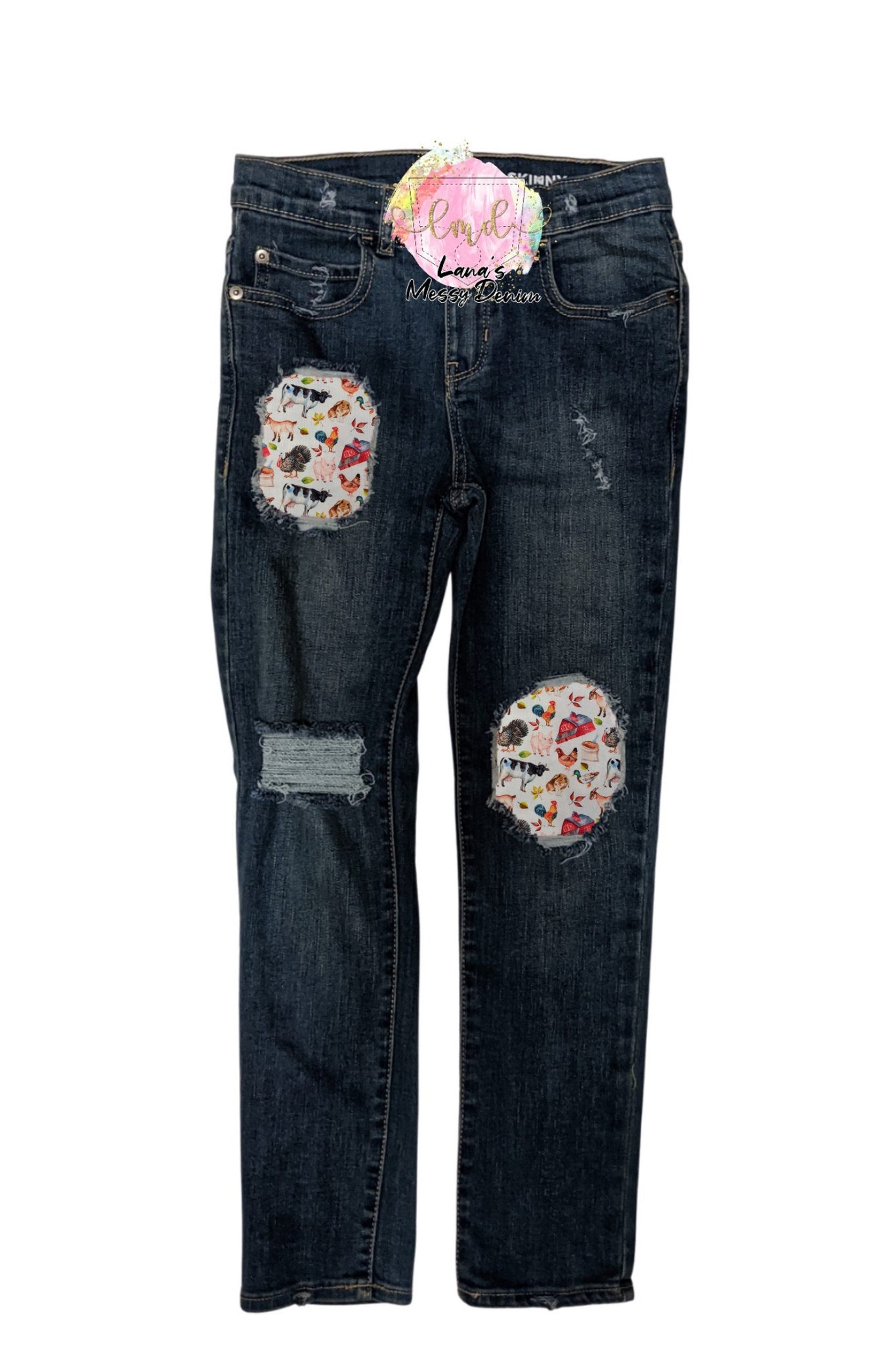 Farm Animals Messy Denim Jeans