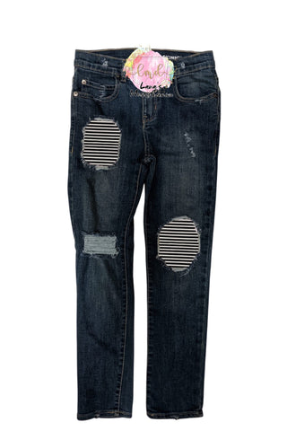 Black & White StripesMessy Denim Jeans
